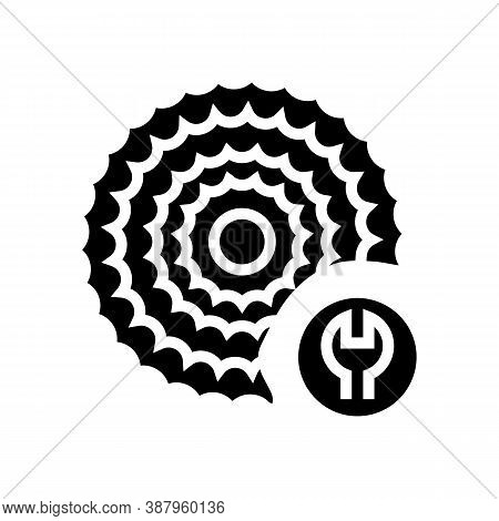 Cassette Cogset Replacement Glyph Icon Vector. Cassette Cogset Replacement Sign. Isolated Contour Sy
