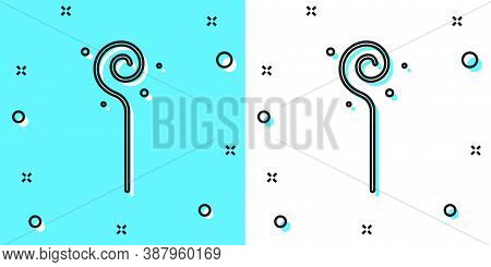 Black Line Magic Staff Icon Isolated On Green And White Background. Magic Wand, Scepter, Stick, Rod.