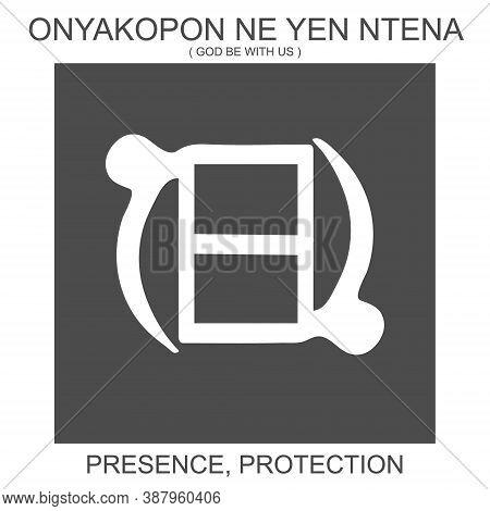 Vector Icon With African Adinkra Symbol Onyakopon Ne Yen Ntena. Symbol Of Presence And Protection