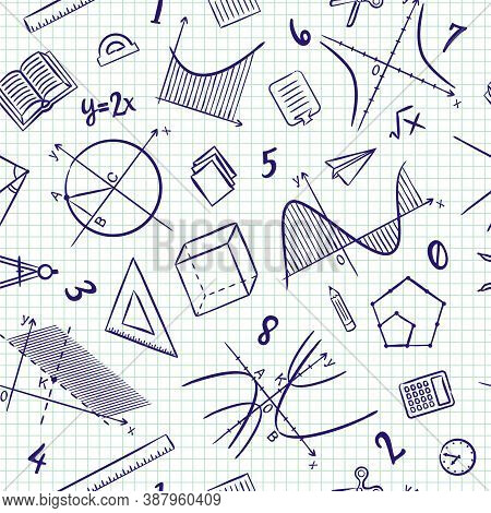 Seamless Doodle Pattern With School Algebra Elements. Pattern With Mathematical Objects, Charts And