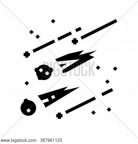 Falling Meteors Glyph Icon Vector. Falling Meteors Sign. Isolated Contour Symbol Black Illustration