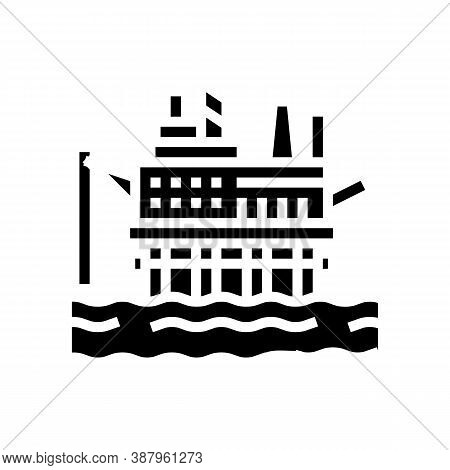 Sea Petrol Rig Glyph Icon Vector. Sea Petrol Rig Sign. Isolated Contour Symbol Black Illustration