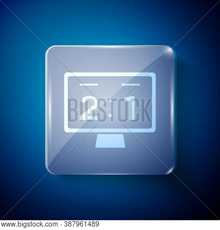 White Sport Mechanical Scoreboard And Result Display Icon Isolated On Blue Background. Square Glass