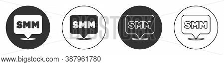 Black Smm Icon Isolated On White Background. Social Media Marketing, Analysis, Advertising Strategy