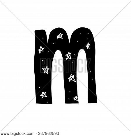Hand Drawn Letter M. Black Alphabet Letter Inside Which There Are Many Stars And The Night Sky. Vect