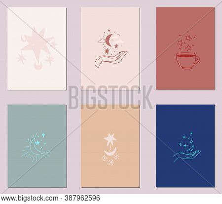 Vector Set Of Greeting Cards Heavenly Elements. Celestial Stars, Moon, Design Hand Holds Space Illus