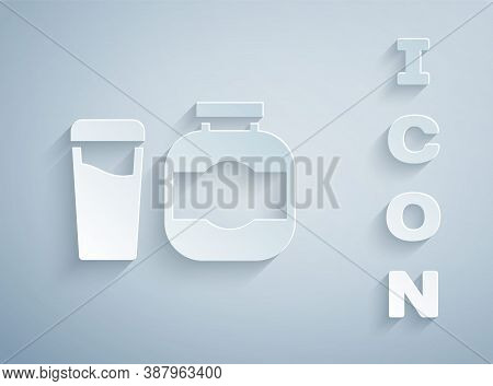 Paper Cut Sports Nutrition Bodybuilding Proteine Power Drink And Food Icon Isolated On Grey Backgrou