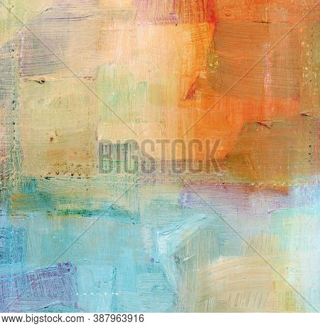 Abstract Colorful Oil Painting On Canvas Texture. Modern Art Of Hand Painted Brush Stroke On Canvas.