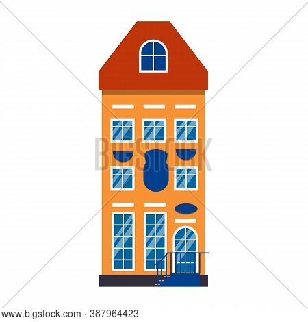 Colorful Cartoon Architecture Amsterdam Single House. Closeup Graphic Icon Townhouse, European Style