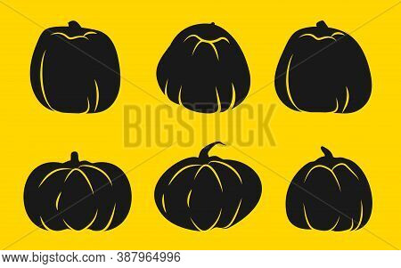 Set Of Autumn Pumpkin Glyph Icons With White Line.template Different Shape Gourd. Symbol Thanksgivin