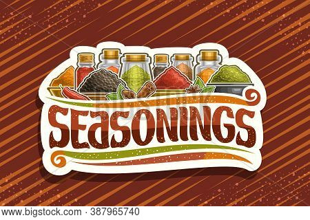Vector Logo For Indian Seasonings, White Decorative Signboard With Illustration Of Set Organic Spice