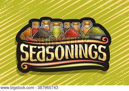 Vector Logo For Indian Seasonings, Dark Decorative Signboard With Illustration Of Set Fresh Spices I