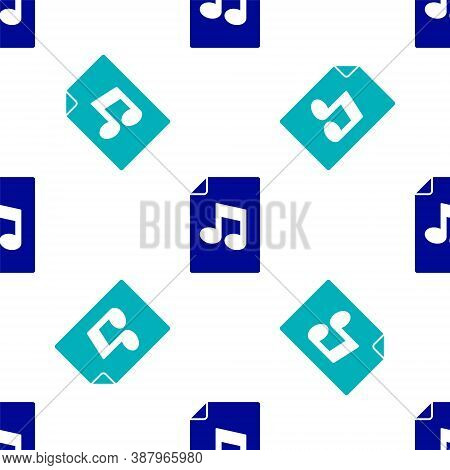 Blue Music Book With Note Icon Isolated Seamless Pattern On White Background. Music Sheet With Note