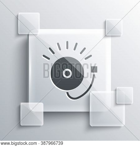 Grey Ringing Alarm Bell Icon Isolated On Grey Background. Fire Alarm System. Service Bell, Handbell