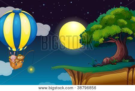 Illustration of a balloon scene poster