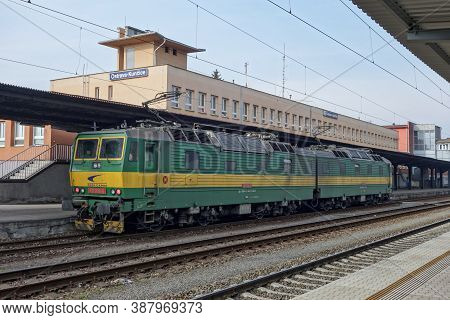 Ostrava, Czechia - February 28, 2016: The 131 006-9 Czech Locomotive Of Ceske Drahy Company At Ostra