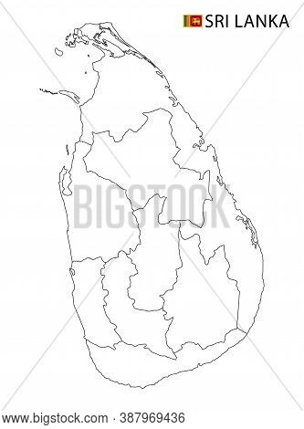 Sri Lanka Map, Black And White Detailed Outline Regions Of The Country.