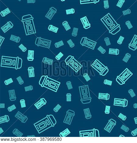 Green Line London Phone Booth Icon Isolated Seamless Pattern On Blue Background. Classic English Boo