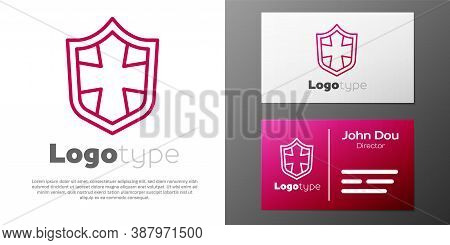 Logotype Line Shield Icon Isolated On White Background. Guard Sign. Security, Safety, Protection, Pr