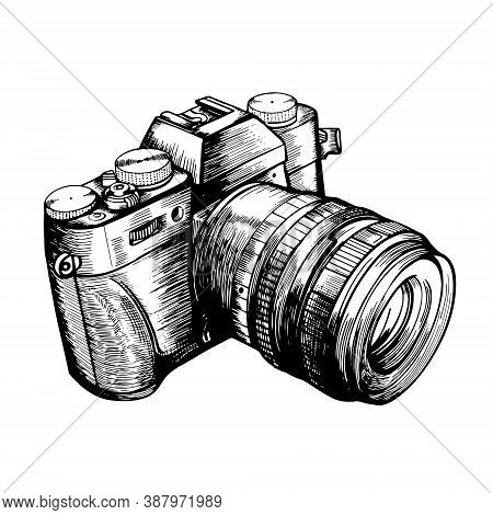 The Camera In The Style Of Doodle. Hand-drawn Vector Stock Illustration
