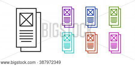 Black Line Browser Window Icon Isolated On White Background. Set Icons Colorful. Vector