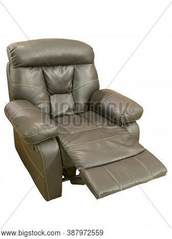 Recliner Brown Leather Theater Tv Armchair, Isolated On A White Background.