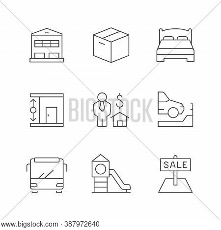 Set Line Icons Of Real Estate Isolated On White. Storehouse, Box, Bed, Room Height, Realtor, Parking