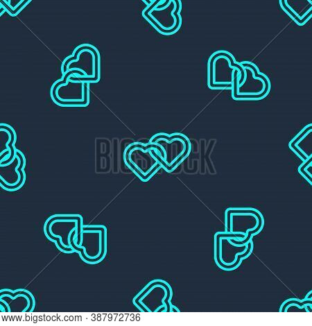 Green Line Two Linked Hearts Icon Isolated Seamless Pattern On Blue Background. Romantic Symbol Link