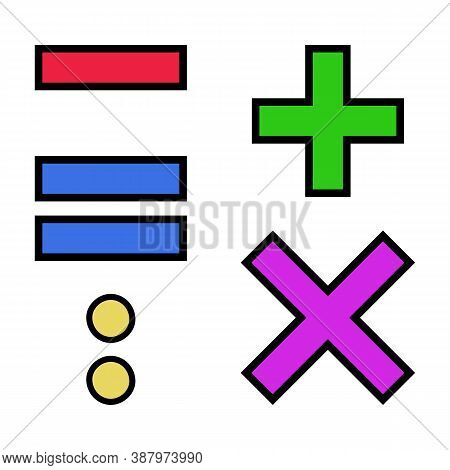 The Vector Set Of Colorful Arithmetic Signs Add, Subtract, Multiply, Divide, Equal