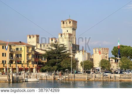 Sirmione, Italy - October 8:  The View Towards The Resort Town Of Sirmione On October 8, 2019.  Sirm