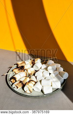 Marshmallow Skewers Marshmallows On A Stick Roasting On The Plate. White Camping Marshmallow. Creati
