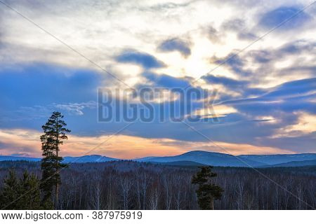 Winter Landscape With The Wood Mountains And Evening Sky