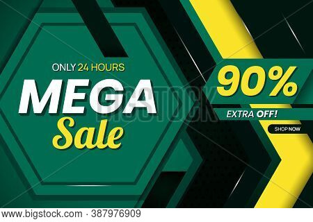 Vector Graphic Of Modern Mega Sale 95 Percent Banner Template. Perfect For Retail, Brochure, Banner,