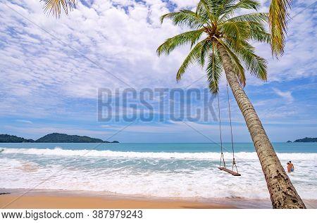 Summer Beach With Palms Trees Around In Patong Beach Phuket Island Thailand, Beautiful Tropical Beac