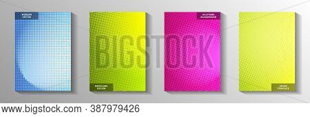 Minimalist Circle Screen Tone Gradation Front Page Templates Vector Series. Industrial Catalog Faded