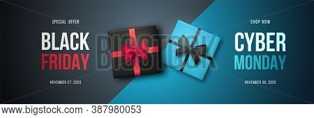 Long Horizontal Banner With Gift Boxes For Black Friday And Cyber Monday Sale. Promotion Clearance I