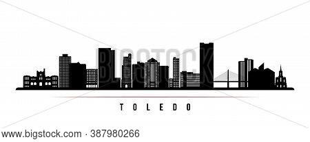 Toledo Skyline Horizontal Banner. Black And White Silhouette Of Toledo City, Ohio. Vector Template F