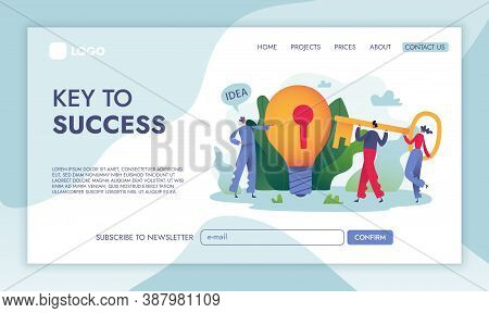 Concept Idea Key Landing Page. Big Idea Bulb With Key Hole And People Holding Key. Business Vector I
