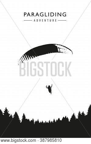 Paragliding Adventure On Forest Background Vector Illustration Eps10