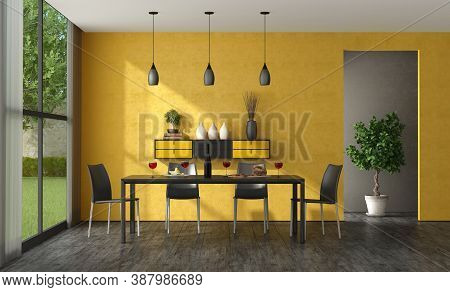 Black And Yellow Dining Room With Wooden Table Leather Chairs And Sideboard On Wall - 3d Rendering