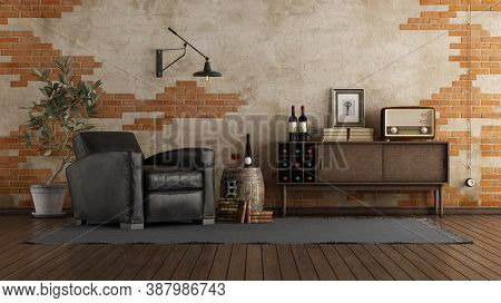 Retro Style Living Room With Black Leather Armchair, Wooden Sideboard And Brick Wall - 3d Rendering