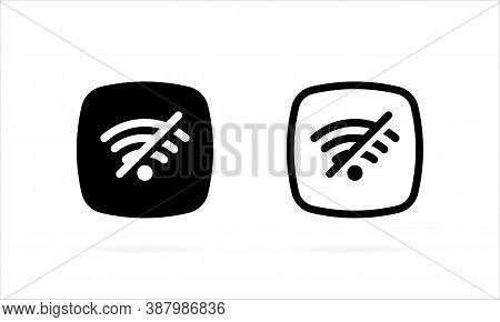 No Wifi Icon. Wifi Network Is Not Available Icon. Connection Problem Filled. No Internet Signal Glyp