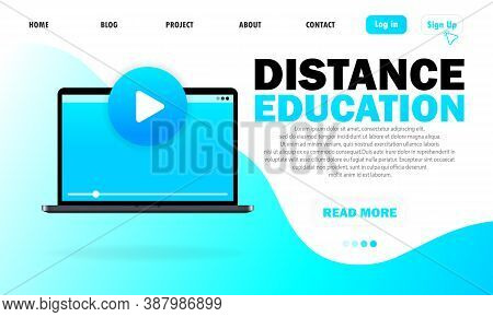 Distance Education. Online Courses. Self-learning Through The Internet. Modern Flat Design Of Online
