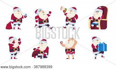 Santa Claus. Cartoon Christmas And Noel Cute Character Poster, Happy New Year Fun Collection. Grandf