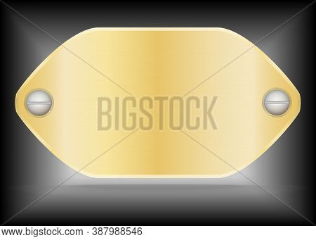Vector Metallic Gold Name Plate Or Gold Label Metal