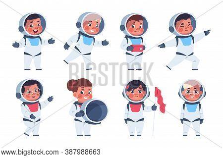 Kids Astronauts. Cute Happy Cartoon Children Characters In White Costumes Of Cosmonauts. Teens Playi