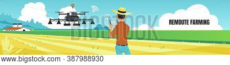 Remote Farming Banner. Cartoon Man Controls Quadcopter Distantly, Wireless Drone Controller. Agricul