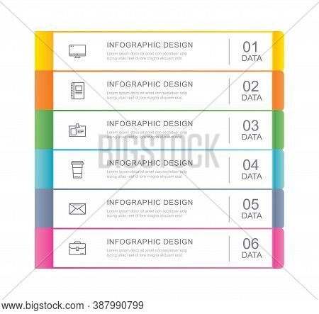 6 Data Infographics Tab Index Template With Thin Line Design. Vector Illustration Abstract Backgroun