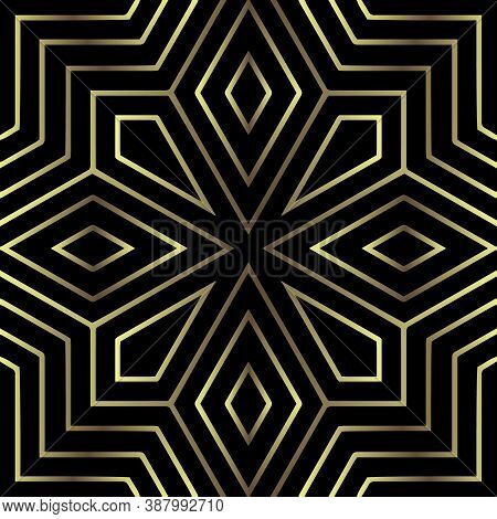 Zig Zag Lines Seamless Pattern. Gold Zigzag Ornaments. Tribal Ethnic Style Ornamental Vector Backgro