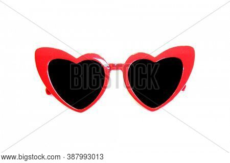 Heart Shape Sunglasses. Red Heart Shaped Fashion Sunglasses. Isolated on white. Room for text.